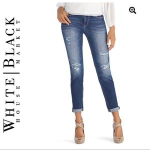 WHBM LEOPARD PATCH GIRLFREIND CROPPED JEANS SIZE 2